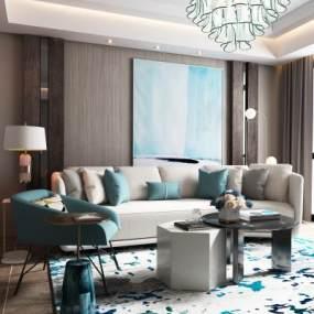 现代客厅沙发茶几组合3D模型【ID:532005064】