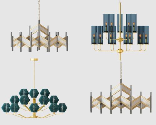 后现代吊灯组合3D模型【ID:735759862】