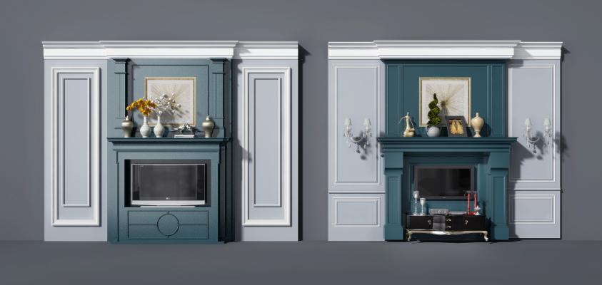 壁炉背景墙雕花背景墙雕花护墙板3D模型【ID:347097632】