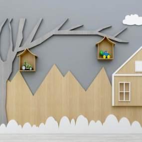 现代儿童背景墙装饰墙组合3D模型【ID:236258779】