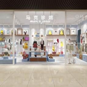 現代童裝店3D模型【ID:146552028】