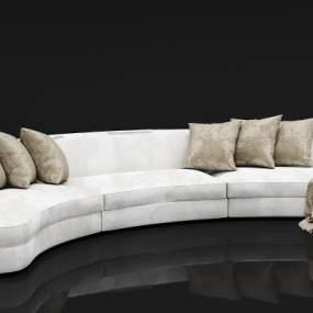 现代绒布多人沙发3D模型【ID:635033673】