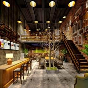 工业风咖啡厅 3D模型【ID:636203382】