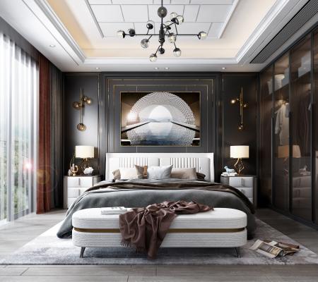 现代卧室3D模型【ID:550649207】