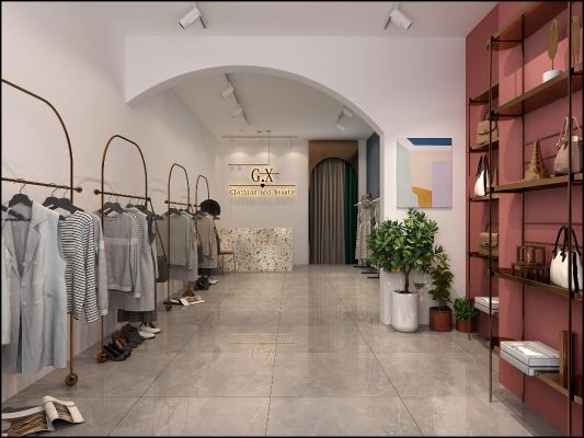 现代服装店铺3D模型【ID:146485016】