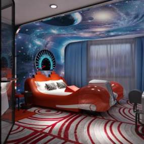 现代酒店客房汽车床3D模型【ID:732178318】
