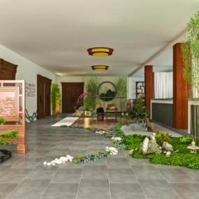 室内枯山水拴马桩茶桌竹子景观3D模型【ID:836021765】