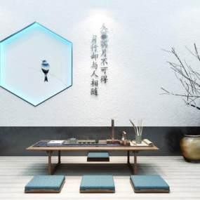 新中式背景茶桌椅茶室组合365彩票【ID:635810155】