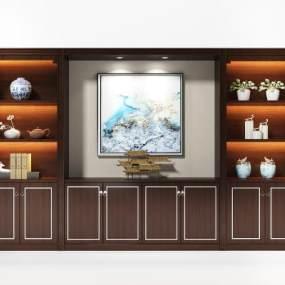 新中式书柜3D模型【ID:153381535】