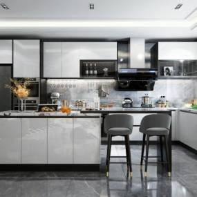 现代开放式厨房3D模型【ID:548180304】