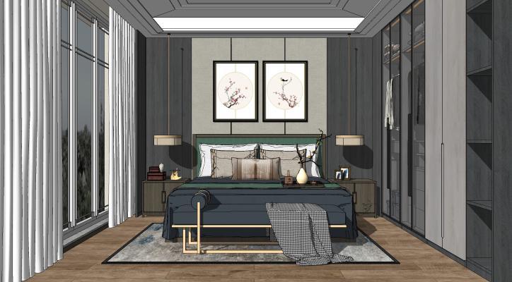 新中式臥室SU模型【ID:252022394】