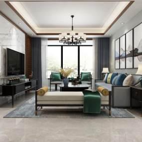 新中式客厅3D模型【ID:535844010】