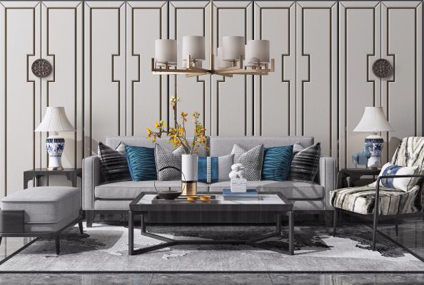 新中式沙发茶几组合3D模型【ID:649154747】