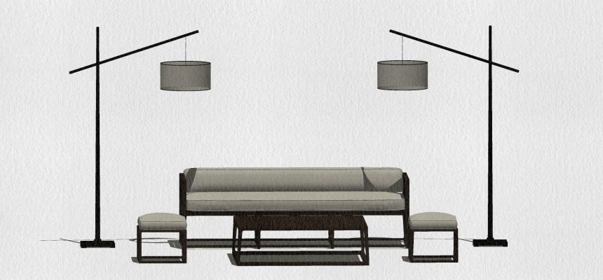 新中式沙发组合SU模型【ID:451263105】