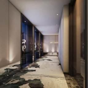 新中式酒店客房过道3D模型【ID:749138333】