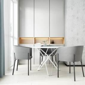 现代圆桌椅组合3D模型【ID:835943834】