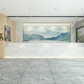 現代商務酒店大堂3D模型【ID:746606015】