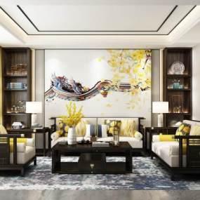 新中式实木沙发茶几组合3D模型【ID:649497778】