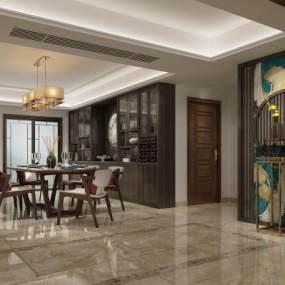 新中式餐厅客厅3D模型【ID:533209199】