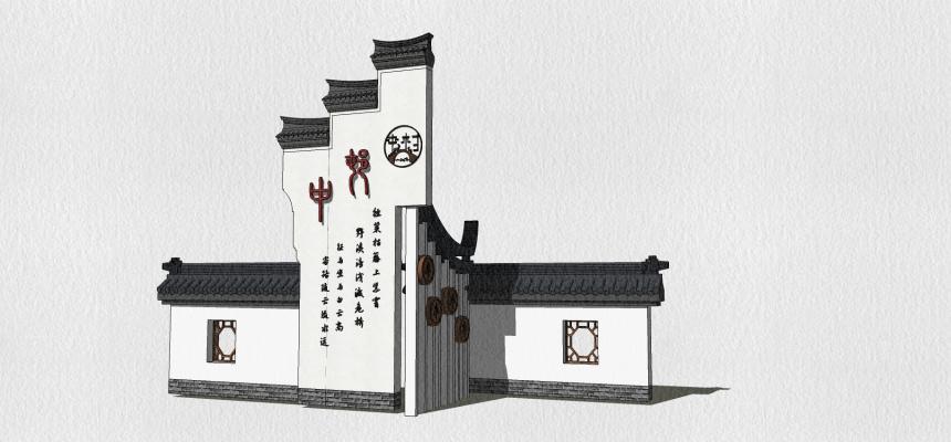 新中式景墻SU模型【ID:749200002】