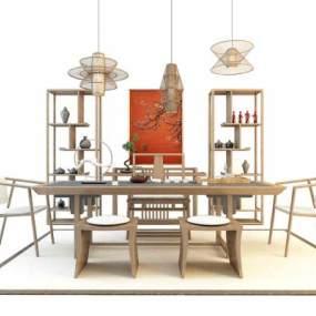 新中式茶桌椅吊灯博古架组合3D模型【ID:936044504】