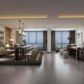 新中式茶室空间3D模型【ID:636244123】
