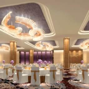 新中式酒店宴会厅3D模型【ID:734472299】