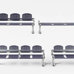 现代不锈钢金属公共排椅3D模型【ID:732103080】
