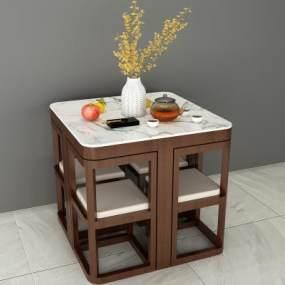 新中式休闲茶桌椅3D模型【ID:850236905】