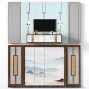 新中式电视机背景墙沙发背景墙3D模型【ID:235919702】