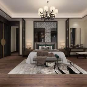 新中式卧室3D模型【ID:534913268】