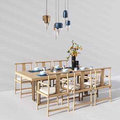 新中式休闲餐桌椅3D模型【ID:842089871】