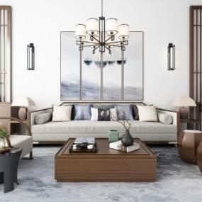 新中式沙发茶几吊灯地毯装饰画组合3D模型【ID:635791763】