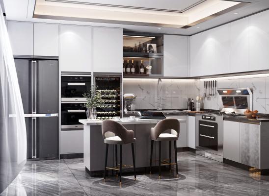 現代開放式廚房3D模型【ID:548430336】