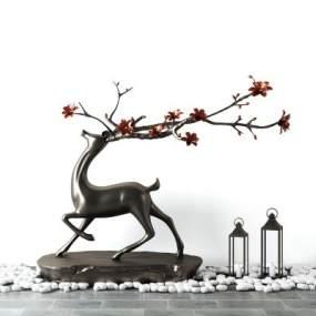 新中式铁艺鹿雕塑装饰摆件鹅卵石组合3D模型【ID:341293100】