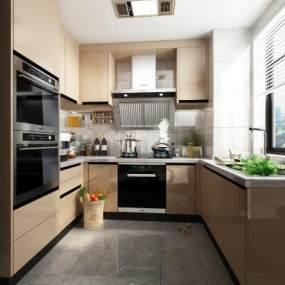 现代厨房3D模型【ID:543453350】