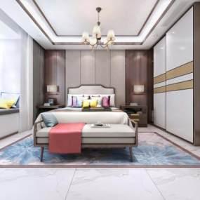 新中式臥室3D模型【ID:547572211】