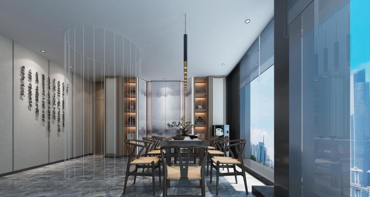 新中式风格茶室3D模型【ID:943450381】