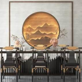 新中式餐厅3D模型【ID:535943160】