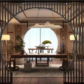 新中式茶室茶桌盆景3D模型【ID:648038113】