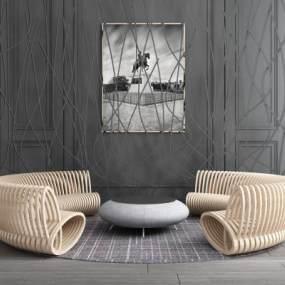 现代实木弧形沙发树枝屏风隔断组合 3D模型【ID:641399710】