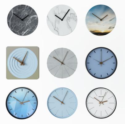 现代挂件墙饰时钟挂钟3D模型【ID:334975361】