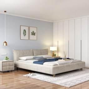 北欧卧室床组合3D模型【ID:843464794】