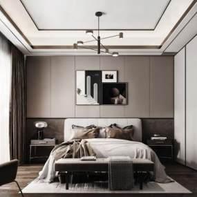 现代卧室3D模型【ID:544606239】
