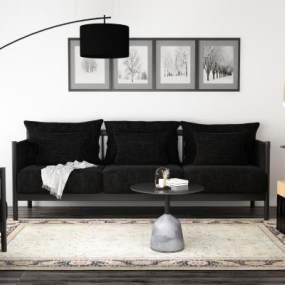 现代黑色沙发3D模型【ID:645713601】