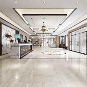新中式酒店大厅 3D模型【ID:741517056】