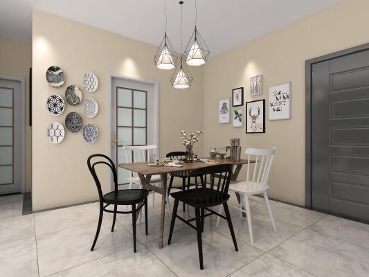 北欧餐桌组合3D模型【ID:742891120】