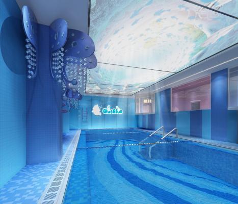 现代风格游泳池3D模型【ID:843451300】