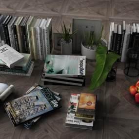 现代书籍古籍花瓶瓷器3D模型【ID:232021514】