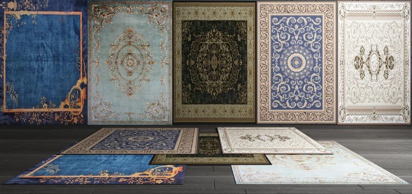 美式欧式地毯组合3D模型【ID:341618209】